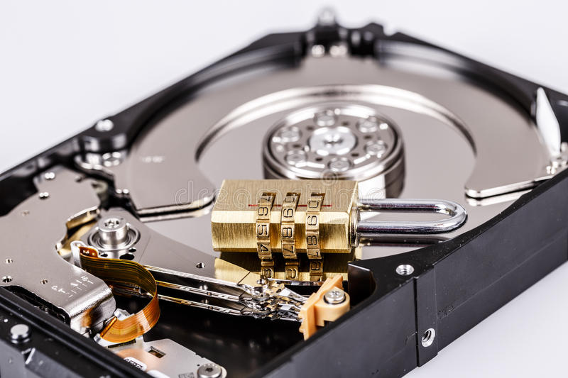 Lock on hdd or harddrive, part of computer, cyber security concept. Data privacy stock photo
