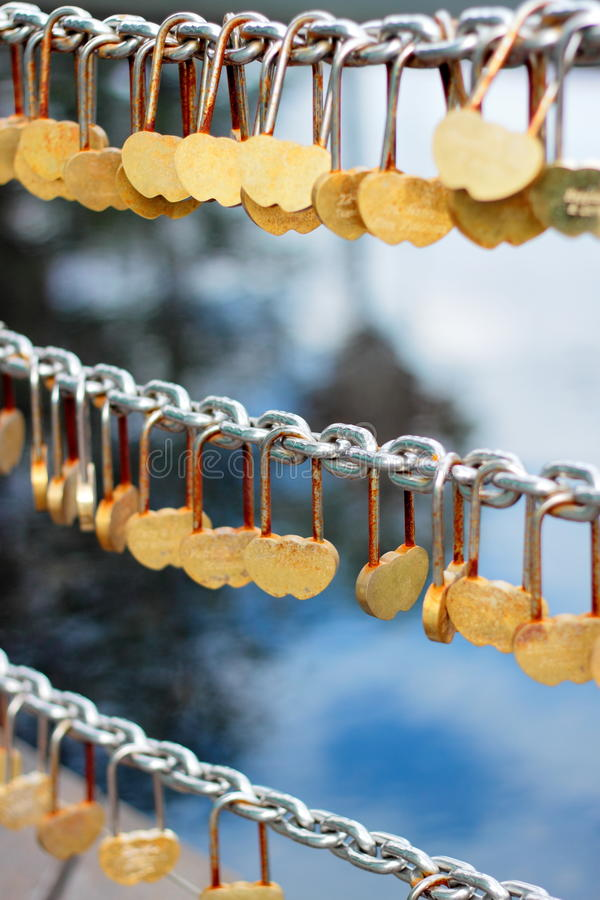 Lock of Hearts. Heart-shaped locks in Perth Bell Tower stock photo