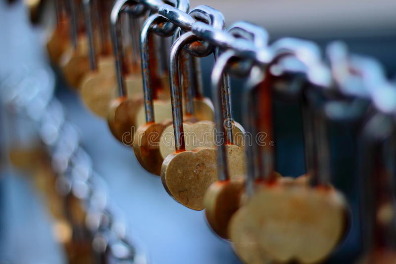 Lock of Hearts. Heart-shaped lock in Perth Bell Tower stock image