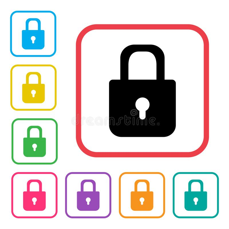Lock icon. Colorful set additional versions icons. Vector vector illustration