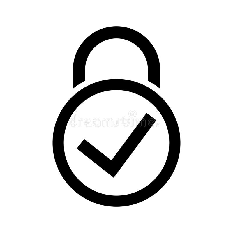 Lock icon design. Padlock with check mark symbol vector. Security Concept. Vector illustration royalty free illustration