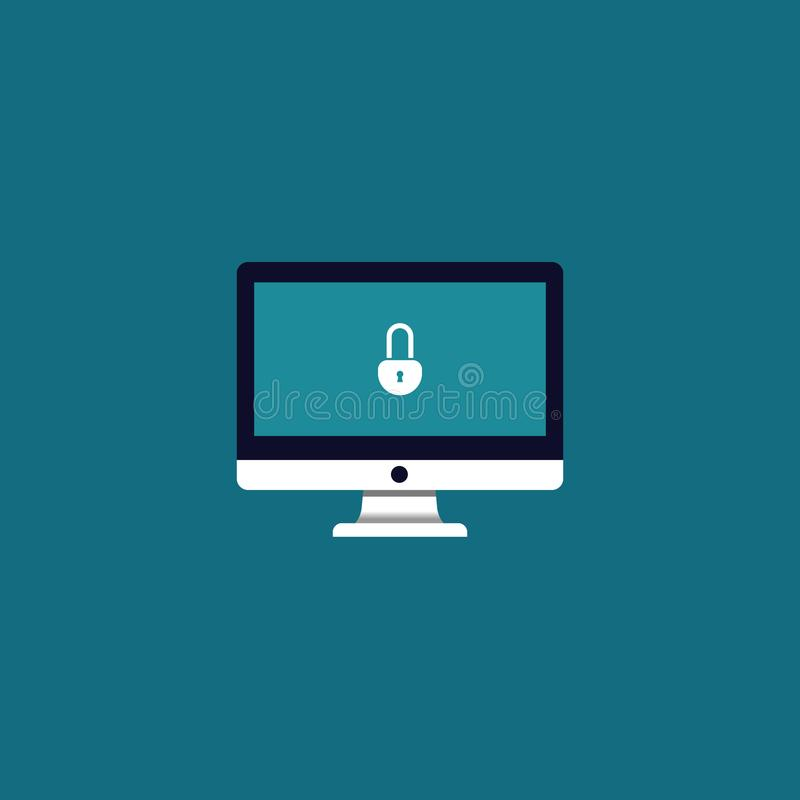 Lock icon on screen monitor. vector symbol security stock photo