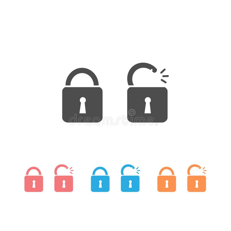 Lock Icon set in trendy flat style isolated on black background. Security symbol for your web site design, logo, app, UI stock illustration