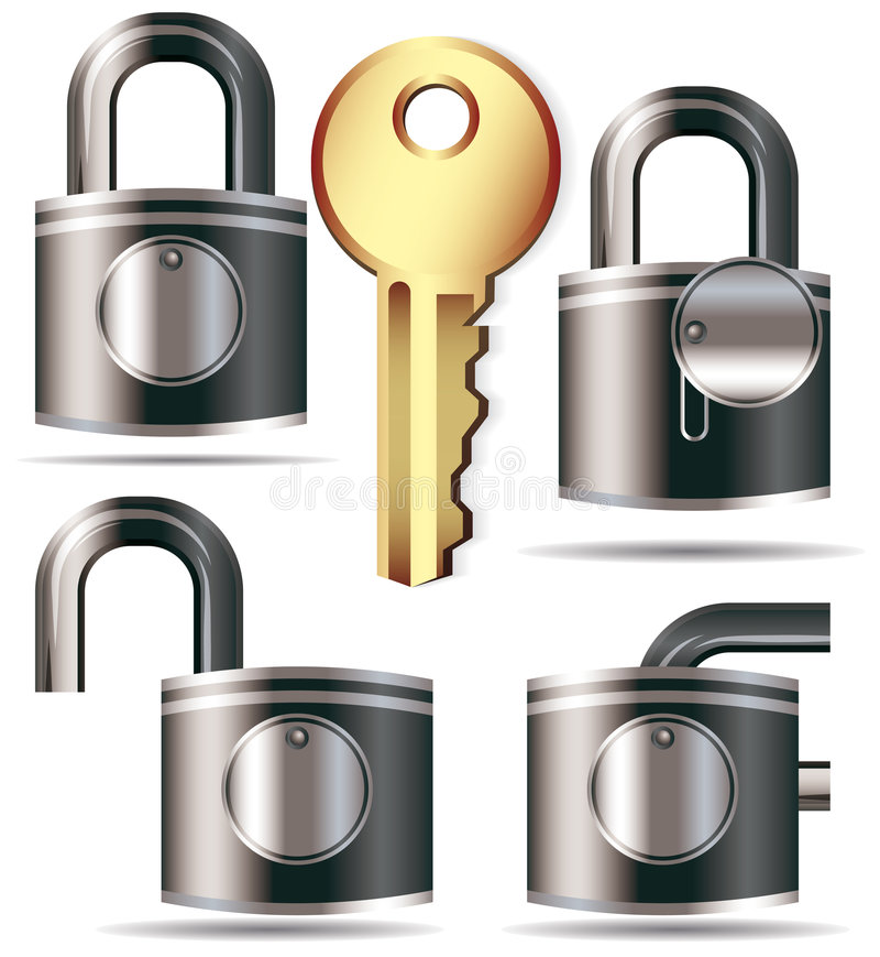 Lock and key stock illustration