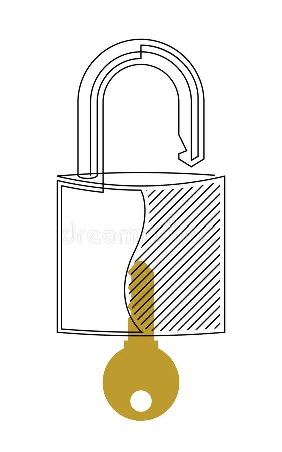 Lock and Key Continuous Line Vector vector illustration