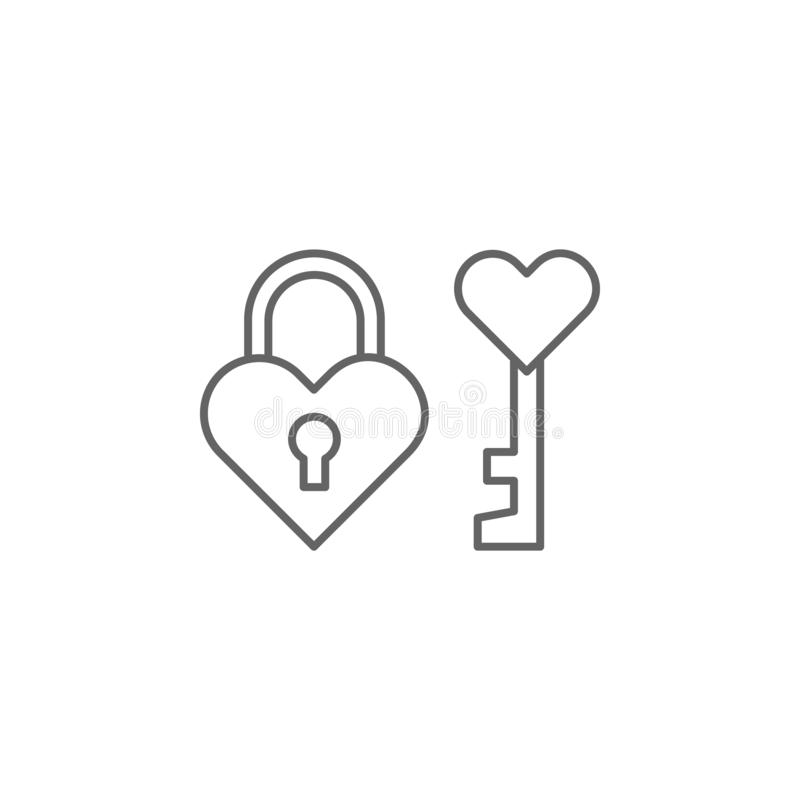 Lock key friendship outline icon. Elements of friendship line icon. Signs, symbols and vectors can be used for web, logo, mobile. App, UI, UX on white stock illustration