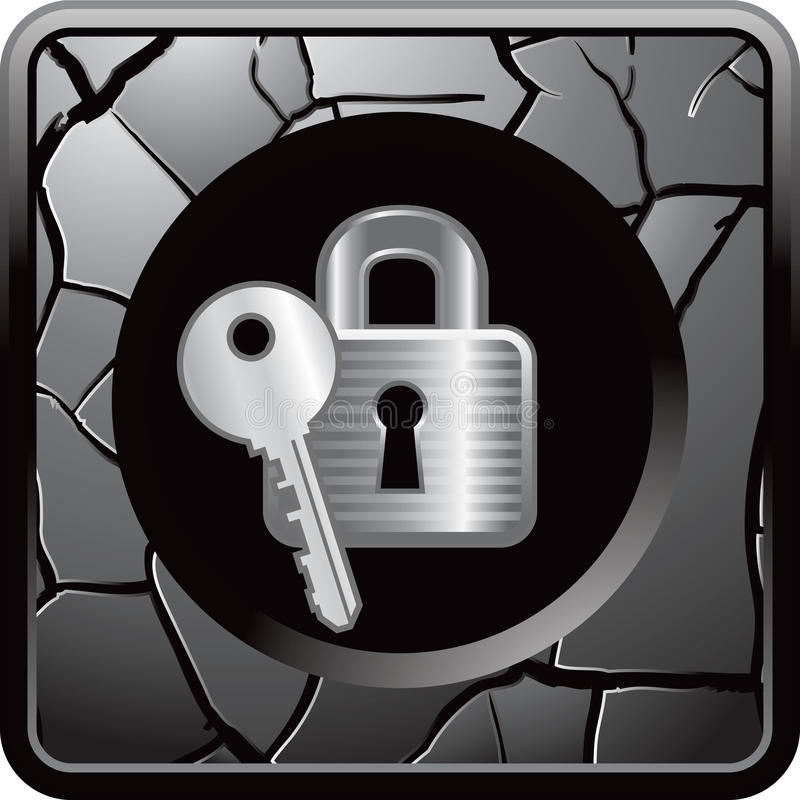 Lock and key on gray cracked web button stock illustration