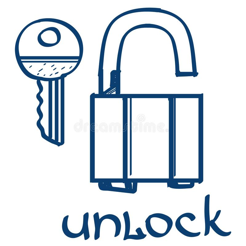 Lock and key icon. Design elements in hand drawn style vector illustration