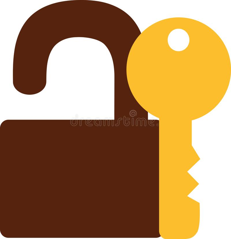Lock with key icon. Vector royalty free illustration