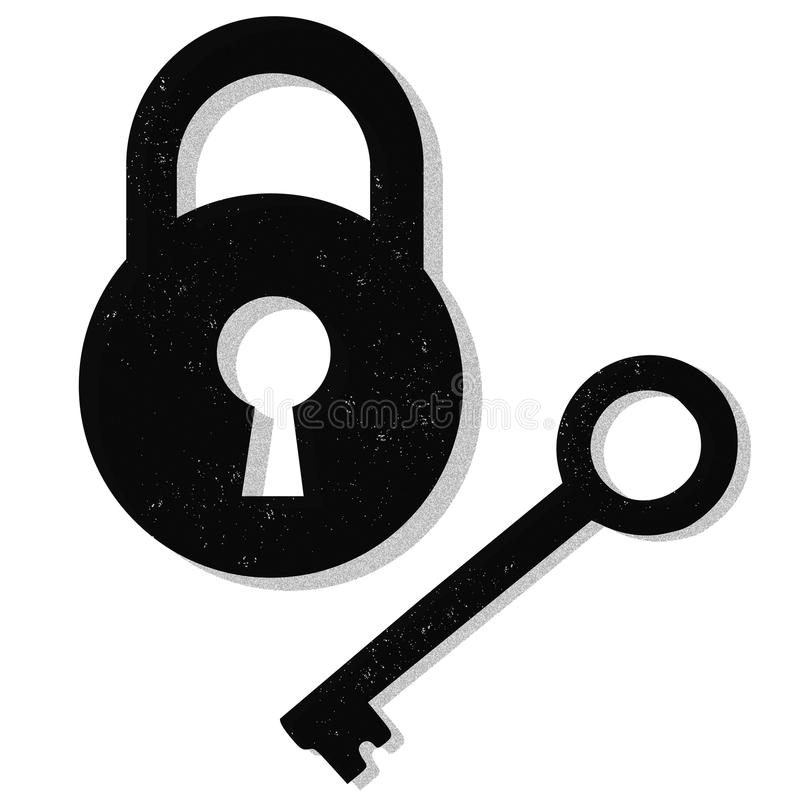 Lock and key. Illustration of a lock and key isolated on white background royalty free illustration