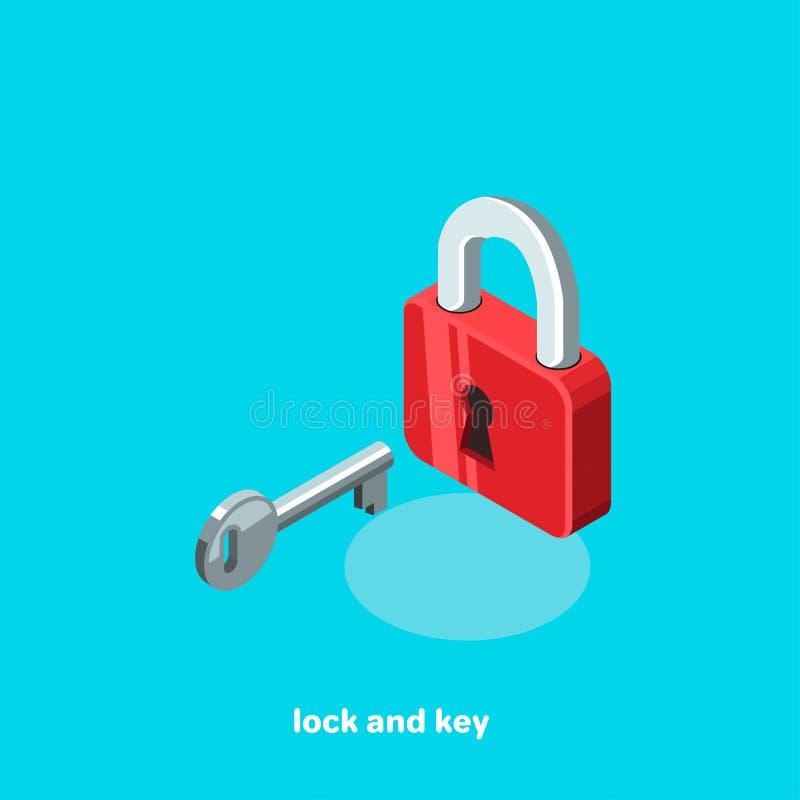 Lock and key, isometric image stock illustration