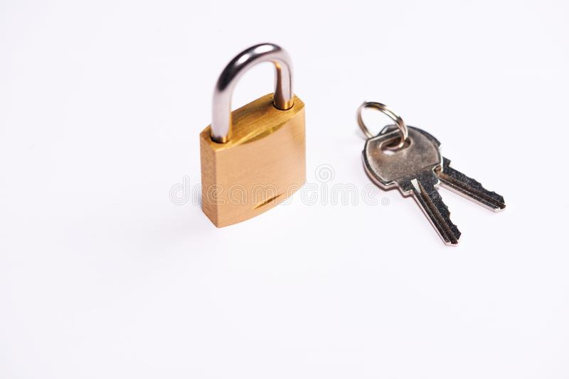The Lock and key on table top.  stock photos