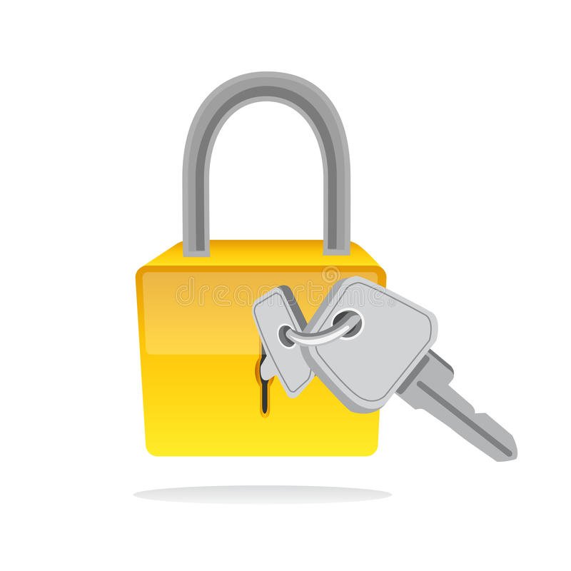 Lock and key vector icon stock vector. Illustration of ...