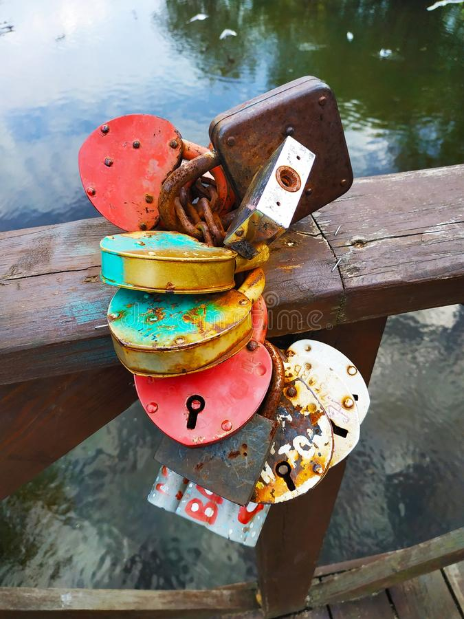 Lock of love for new couples. Lock is symbol of fidelity in marriage, background, bridge, celebration, colorful, couple, cute, decoration, gift, happines royalty free stock images