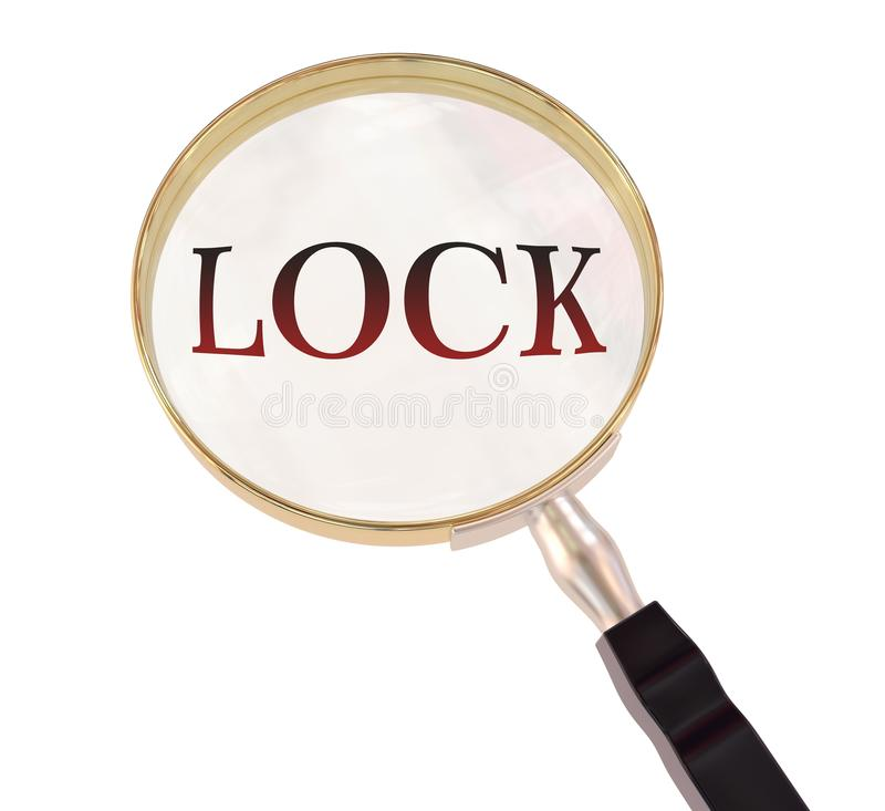 Lock magnify. By 3d rendered magnifying glass on isolated white background royalty free illustration