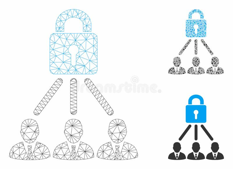 Lock Managers Vector Mesh Carcass Model and Triangle Mosaic Icon. Mesh lock managers model with triangle mosaic icon. Wire carcass triangular mesh of lock stock illustration