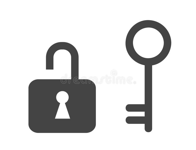 Lock and old key icon. Vector illustration EPS10 stock illustration