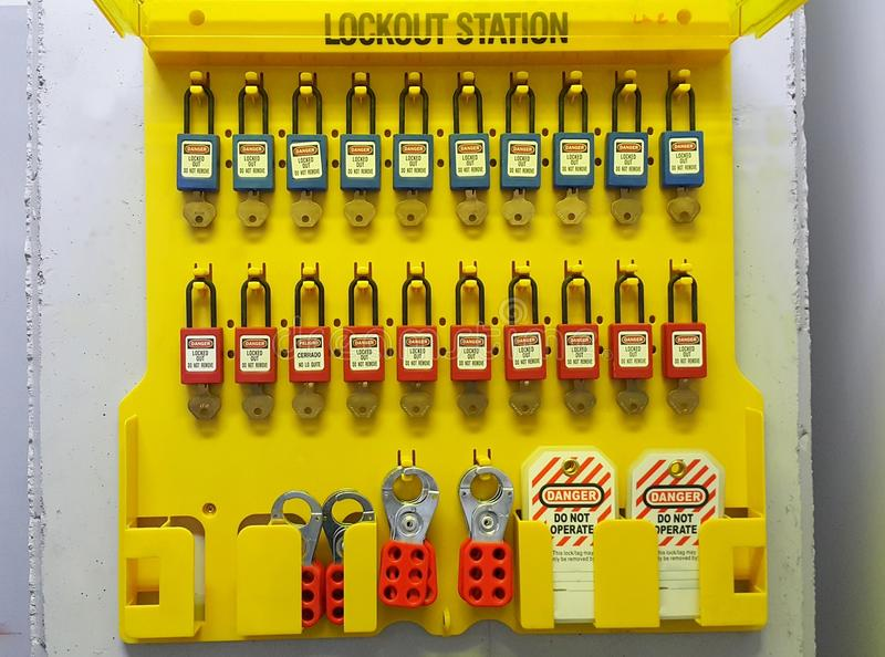Lock out & Tag out , Lockout station, machine - specific lockout devices stock photos