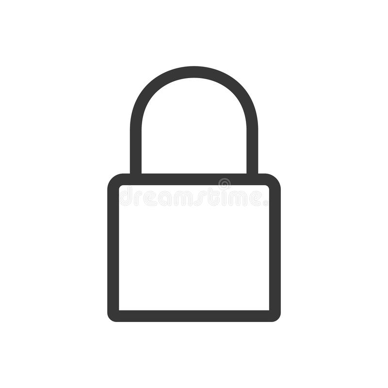 Lock outline vector. Lock flat style icon. Security sign. Lock Icon in trendy flat style isolated on white background. vector illustration