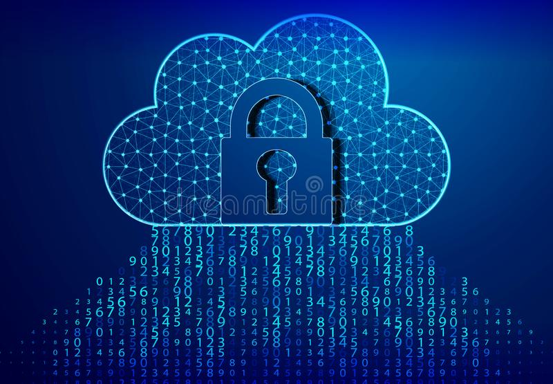 .Lock, Padlock, and cloud computing code. Blue bytes of binary code flying through a vortex, background code depth of field/Binary. Lock, Padlock, and cloud royalty free illustration