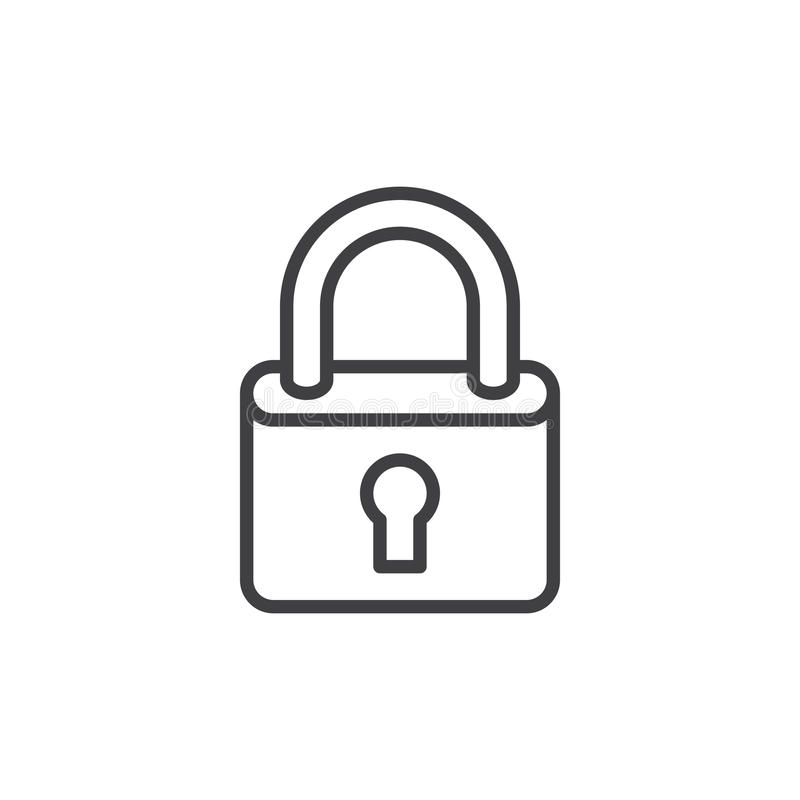 Lock, padlock line icon, outline vector sign, linear style pictogram isolated on white. vector illustration