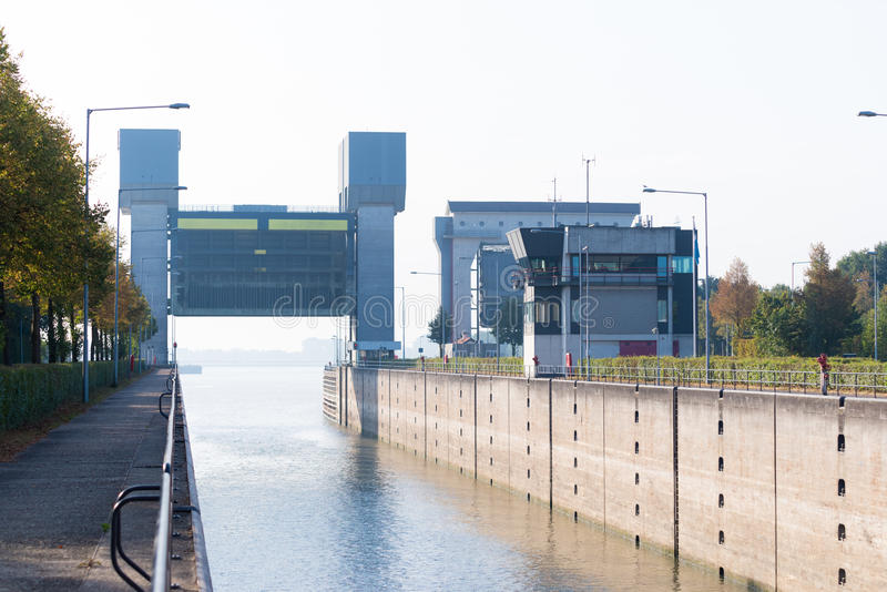 Lock PRINSBERNHARD SLUIS in tthe netherlands. TIEL, NETHERLANDS - SEPTEMBER 24, 2016: Lock Prins Bernhard in the Amsterdam-Rhine canal stock photos