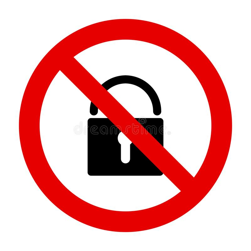 Lock and prohibition sign. As vector illustration stock illustration