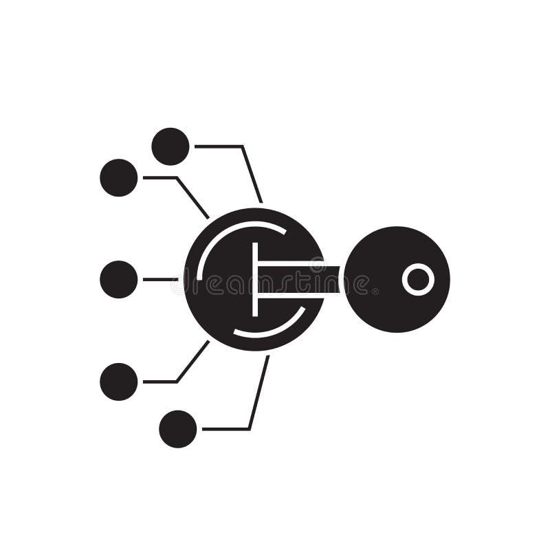 Lock scheme black vector concept icon. Lock scheme flat illustration, sign. Symbol royalty free illustration