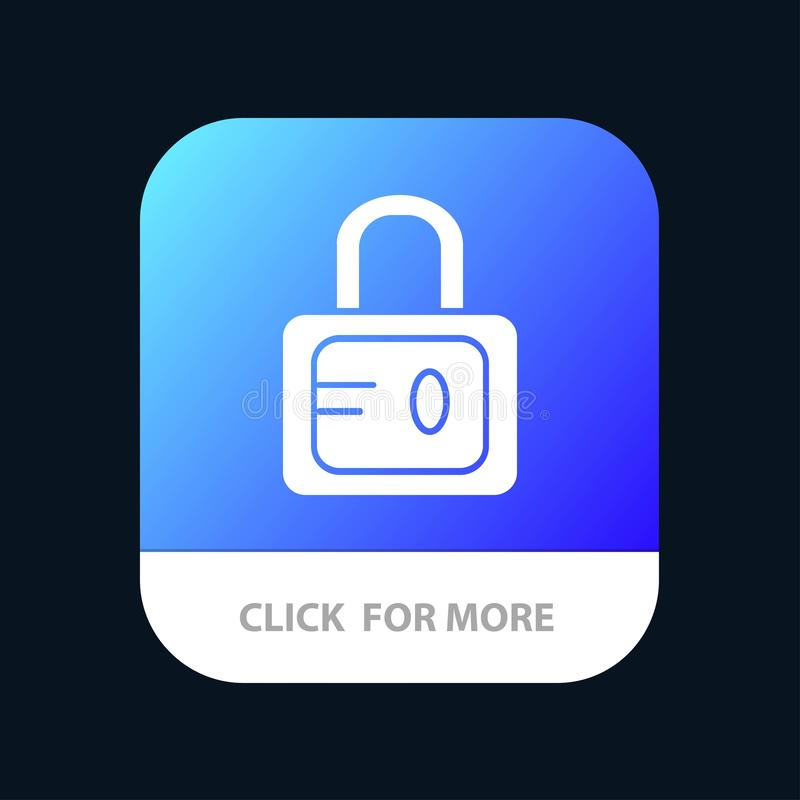 Lock, School, Study Mobile App Button. Android and IOS Glyph Version royalty free illustration