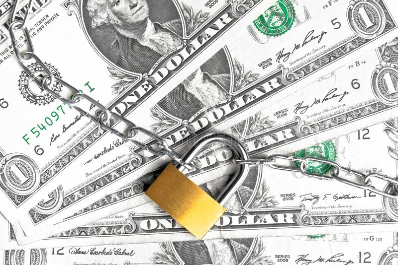 Download Lock Security And Chain On Dollars Banknotes Background Royalty Free Stock Images - Image: 34242129