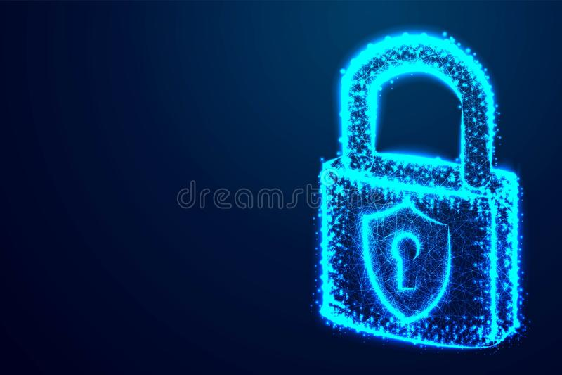 lock, Security, Padlock, Keyhole, Cyber, form lines and triangles, point connecting network on blue background. Illustration. stock illustration