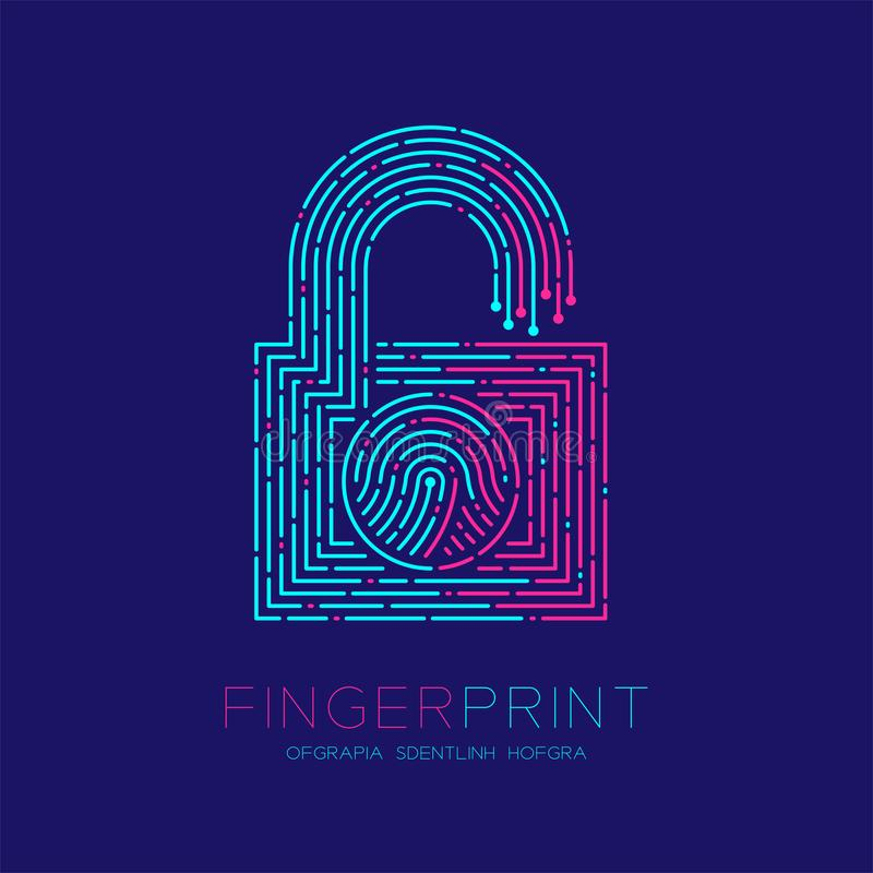 Lock shape pattern Fingerprint scan logo icon dash line, Security privacy concept, Editable stroke illustration blue and pink. Isolated on blue background with stock illustration