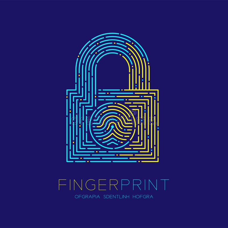 Lock shape pattern Fingerprint scan logo icon dash line, Security privacy concept, Editable stroke illustration blue and yellow. Isolated on blue background royalty free illustration