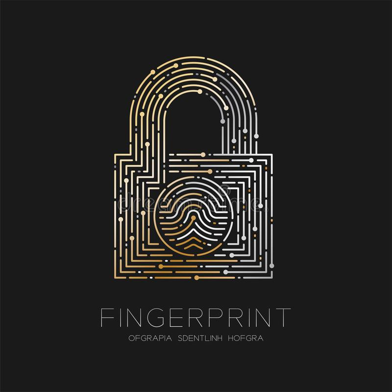 Lock shape pattern Fingerprint scan logo icon dash line, Security privacy concept, illustration silver and gold isolated on black. Background with Fingerprint stock illustration