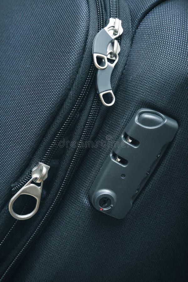 Lock on travel bag stock photography