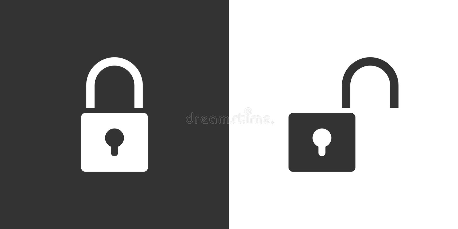 Lock and unlock icon on black and white background royalty free illustration