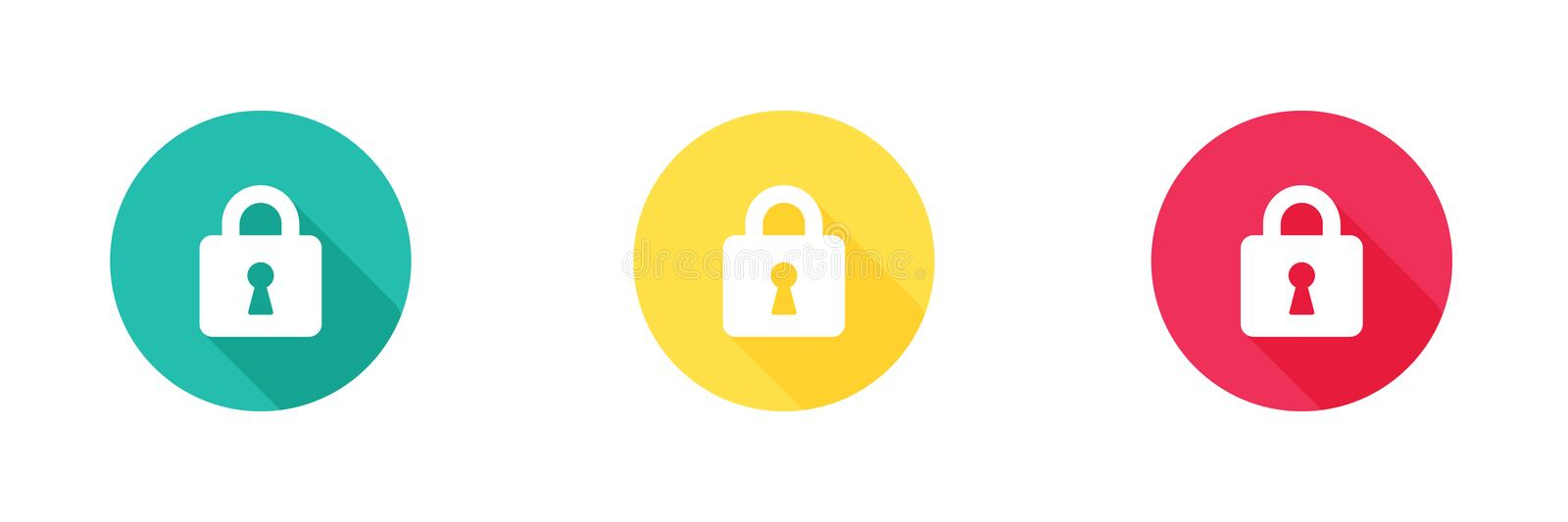 Lock vector icon in green yellow and red with long shadow effect, unlock symbol. Simple, flat design, Solid icons style for royalty free illustration