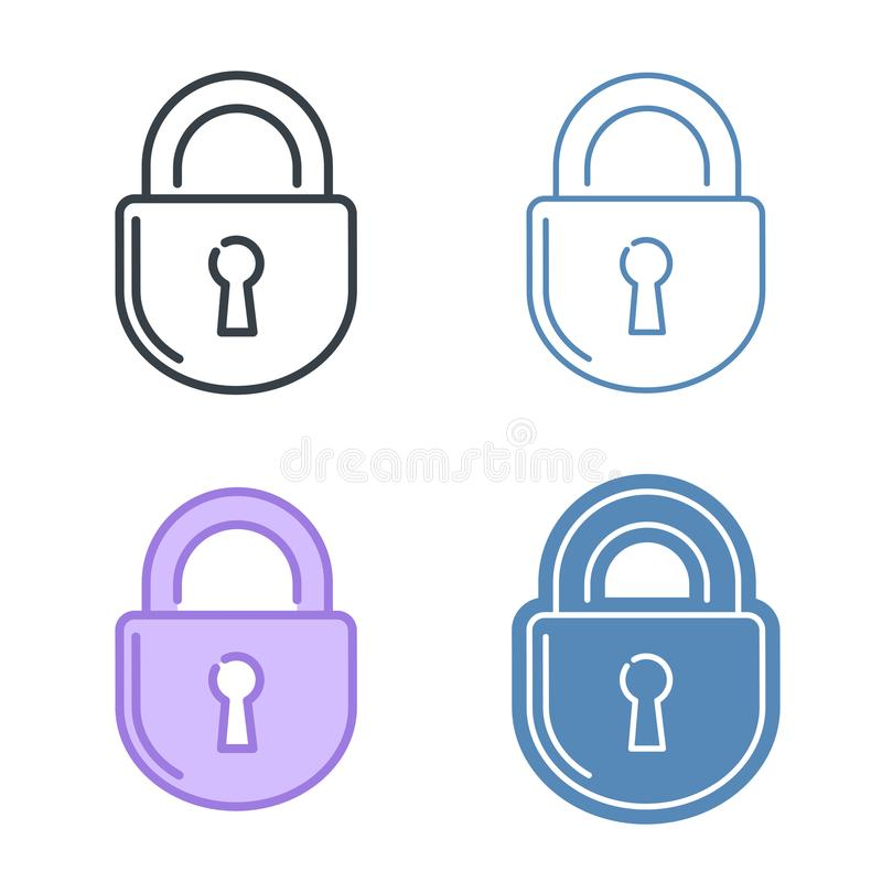 The lock vector outline icon set. Data protection concept stock illustration
