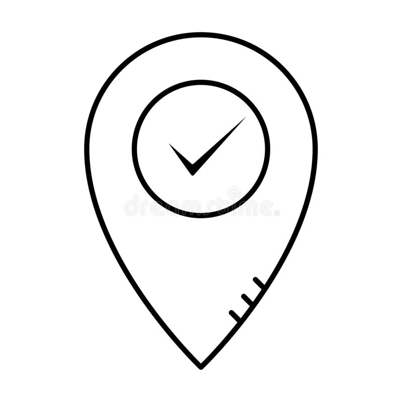 Lockation pin map marker. Outline approved and correct icon in flat style. Check tick mark as ok symbol of business process vector illustration