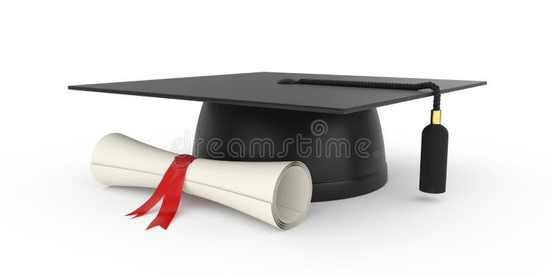 lockavläggande av examen stock illustrationer