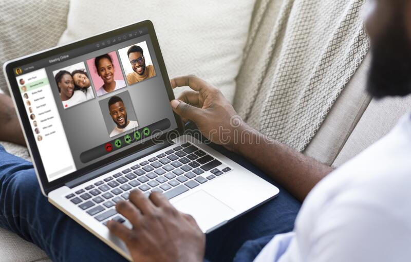 Lockdown communication. African American man having video conference with his family at home, collage. Lockdown communication. African American guy having video royalty free stock photo
