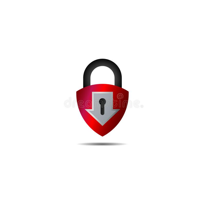 Free Lockdown Sign Illustration Isolated On White Background. Metalic Red Shield Padlock With Down Arrow Shape Icon. Security Logo Royalty Free Stock Photos - 176328228