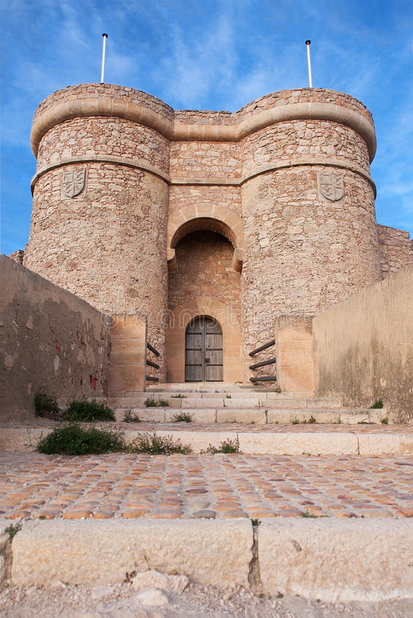 Locked castle. The entrance to the chinchilla castle, in albacete province royalty free stock photo