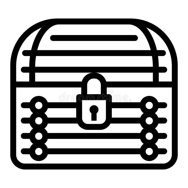 Locked chest line icon. Treasure chest vector illustration isolated on white. Closed trunk outline style design vector illustration