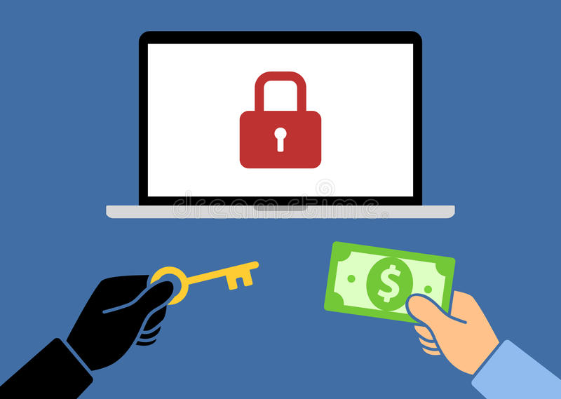 Locked computer ransomware with hands holding money and key flat vector illustration stock photos