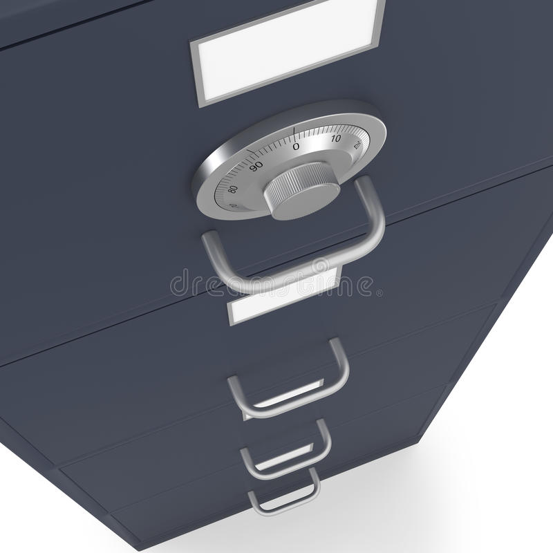 Locked filing cabinet with safe lock dial royalty free stock images