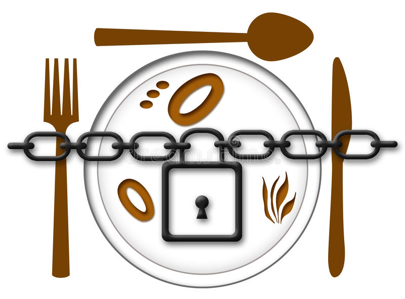 Locked Food Plate. Chain locked over food plate with fork, knife and spoon royalty free illustration