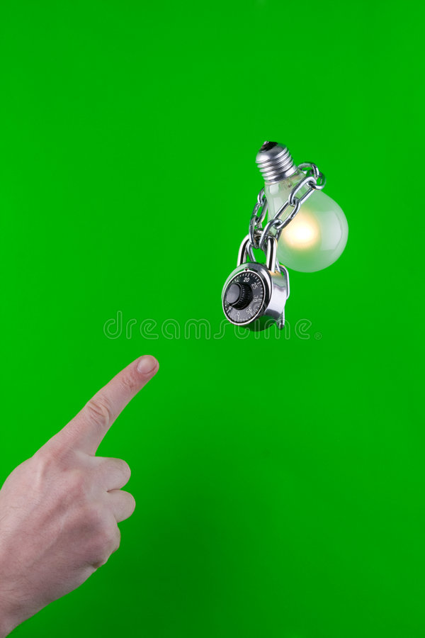 Locked Green Bulb Stock Images