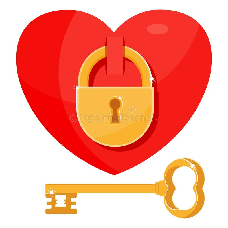 Locked heart and key vector illustration