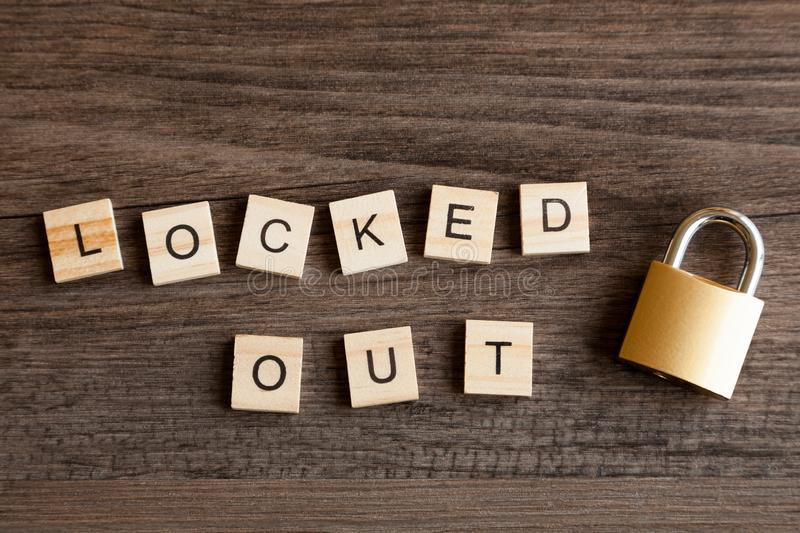 Locked Out and Padlock stock photography